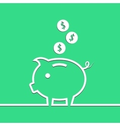 Money piggy bank in line on blue background vector image