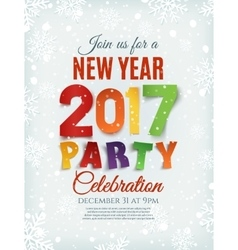 New Year party poster template with snow and vector image vector image