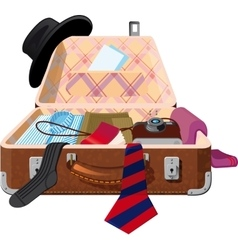 open ful suitcasse vector image
