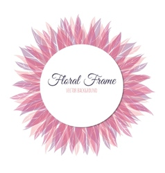 Pink floral round frame vector