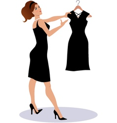 Saleswoman showing a little black dress vector