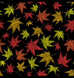 scratched maple leaves seamless pattern fall bg vector image