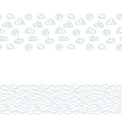 Seamless background white clouds and waves vector image