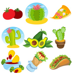 Set of icons on a mexican theme mexican food and vector