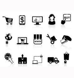 shopping on-line icons vector image vector image