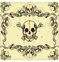 Skull and ribbon frames vector