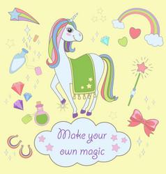 Stickers set with unicorns icons unicorn vector