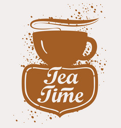 Tea cup with lettering vector