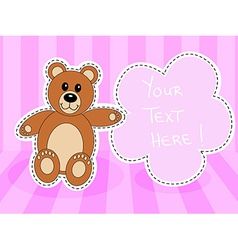 Teddy bearwith blank sign in pink room vector