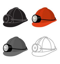 The helmet of a miner with a flashlightgear vector