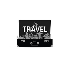 Travel icon in bag paradise vector