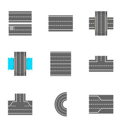 Types of roads icons set cartoon style vector