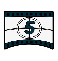 video tape segment with number countdown ico vector image