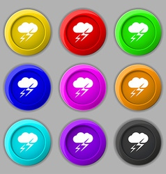 Weather icon sign symbol on nine round colourful vector