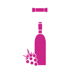 Wine bottle with grape fruit and corkscrew vector