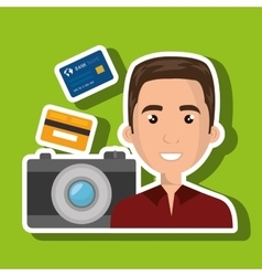 Character camera photography and credit card vector