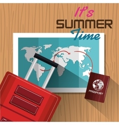 Its summer time suitcase passport map design vector