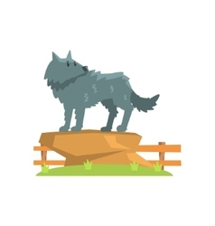 Grey wolf standing on large rock on green grass vector