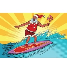 Sports santa claus on a surfboard vector
