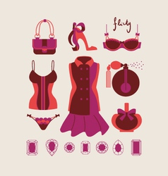 Woman clothes and accessories vector