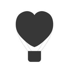 Heart love airballoon flying pictogram vector