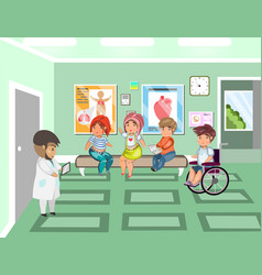 disease patients in doctors waiting room at the vector image