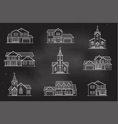 Set of thin line icon suburban american vector