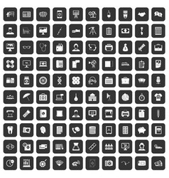 100 department icons set black vector