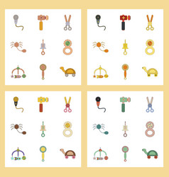 Assembly flat icons kids toys vector