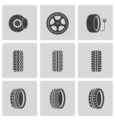 Black tire icons set vector