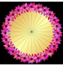 Gold round floral frame vector image
