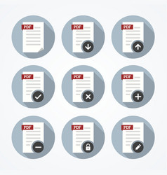 Pdf documents icons set vector