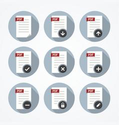 Pdf documents icons set vector image