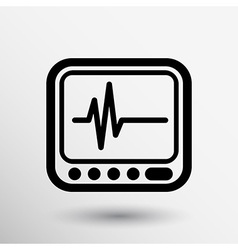 Display with cardiogram icon vector