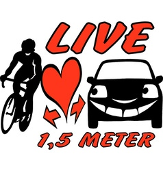 Cartoon of an biker and a car to be aware an vector