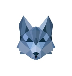 Wolf pack leader in the color blue faceted polygon vector