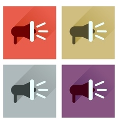 Concept of flat icons with long shadow loudspeaker vector