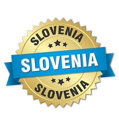 Slovenia round golden badge with blue ribbon vector