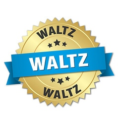 Waltz 3d gold badge with blue ribbon vector