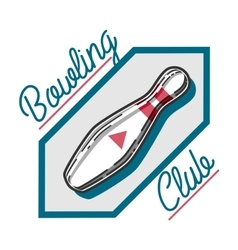 Color vintage bowling emblem vector