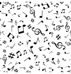 Abstract music notes seamless pattern background vector image vector image