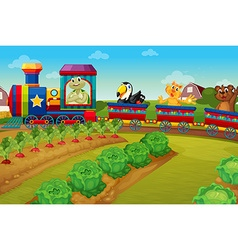 Animals riding on train by the farm vector image vector image