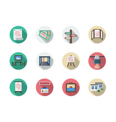 Art gallery elements flat round icons set vector