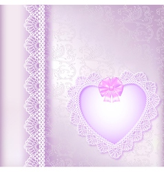 background with a satin bow and a heart vector image vector image