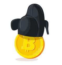 bitcoin in korean hat vector image vector image