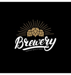 Brewery hand written lettering logo label badge vector