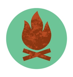 Campfire textured flat icon vector