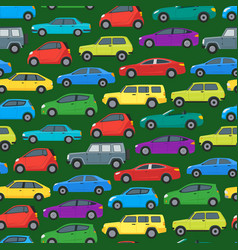 cartoon cars background pattern on a green vector image vector image