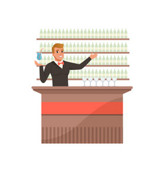 Cheerful bartender at the bar counter with arm out vector