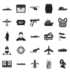 combat vehicles icons set simple style vector image